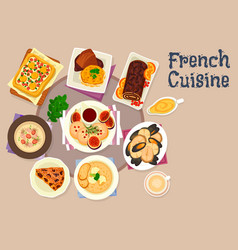 french cuisine festive dinner dishes icon design vector image vector image