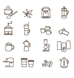 outline brown simple coffee icons set eps10 vector image vector image
