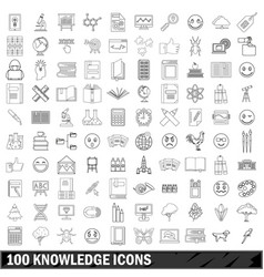 100 knowledge icons set outline style vector image