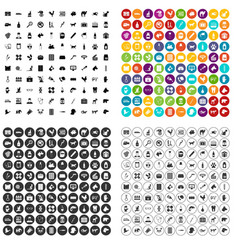 100 veterinary icons set variant vector