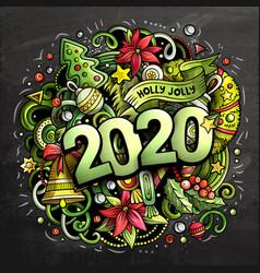 2020 hand drawn doodles chalk board vector image