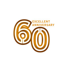 60 years excellent anniversary template design vector