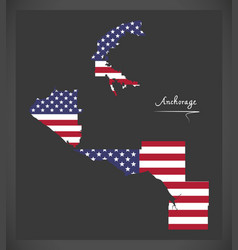 Anchorage alaska map with american national flag vector