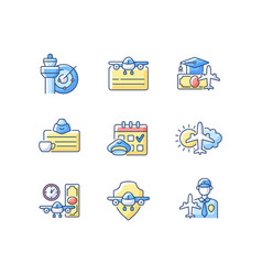 Aviation rgb color icons set vector