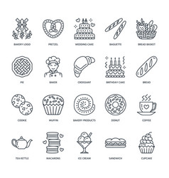Bakery confectionery line icons sweet shop vector