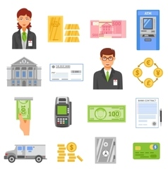 Bank Isolated Color Icons vector