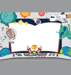 Banner template with astronaut and alien vector