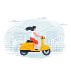 Banner template with girl on a motorbike vector