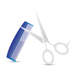 barber scissors and comb vector image