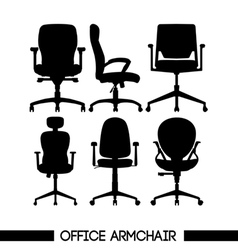 Black modern office armchair set in outlines over vector