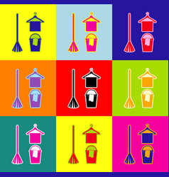 broom bucket and hanger sign pop-art vector image
