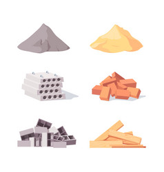 Building material set large piles gray cement vector