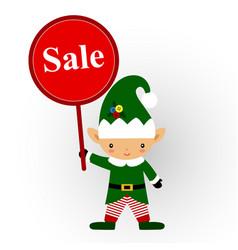 christmas sale christmas elf with banner vector image