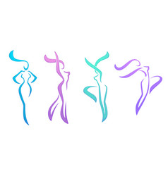 Collection abstract women in dancing poses vector