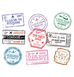 collection passport stamps isolated on white vector image