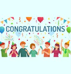 congratulations card happy people congratulate vector image