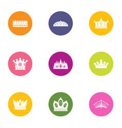 coronal icons set flat style vector image