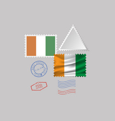 Cote d ivoire flag postage stamp set isolated on vector