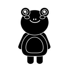 Cute animal frog standing cartoon wildlife vector