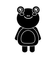 cute animal frog standing cartoon wildlife vector image