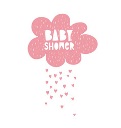 cute hand drawn baby shower pink cloud vector image