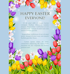 easter flowers poster paschal greeting card vector image
