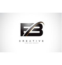 Eb e b swoosh letter logo design with modern vector