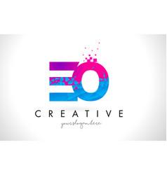 Eo e o letter logo with shattered broken blue vector