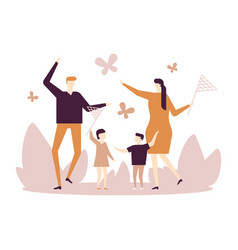 family catching butterflies - flat design style vector image