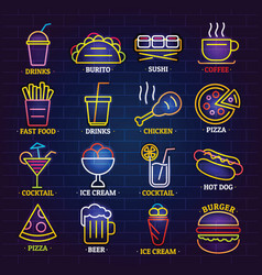 Fast food neon shop sign icons set cartoon style vector