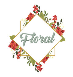 floral flower overlap square frame white backgroun vector image