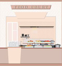 food court with food in a shopping mall vector image