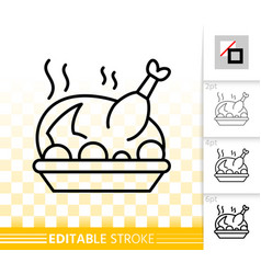 fried turkey simple black line icon vector image