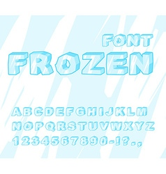 Frozen font Ice alphabet Transparent ABC Cold blue vector