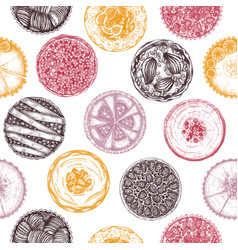 fruit and berry baking cakes seamless pattern vector image