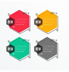 Geometric hexagonal shape banner set in memphis vector