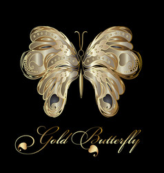 Gold decorative textured butterfly vector