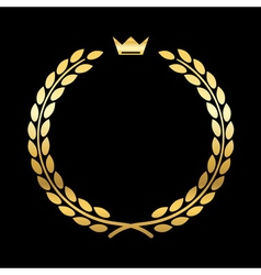 Gold laurel wreath crown leaf vector