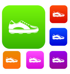 Golf shoe set color collection vector