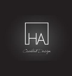 Ha square frame letter logo design with black and vector