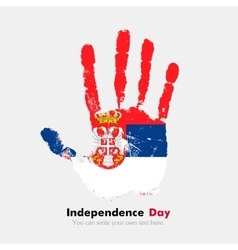 Handprint with the flag of serbia in grunge style vector