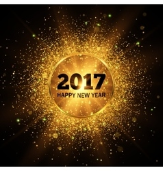 Happy New Year 2017 Gold glitter background vector image