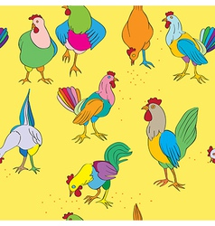hen and cock vector image