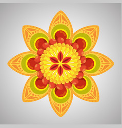Hindu flower with petals decoration tradition vector