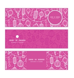 Holiday lanterns line art horizontal banners set vector