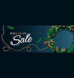 holiday sale banner christmas horizontal vector image