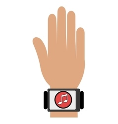 Human hand with square watch and media icon vector