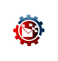 icon email configuration mail setting gear vector image