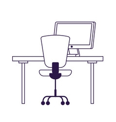 Isolated office chair desk and computer vector