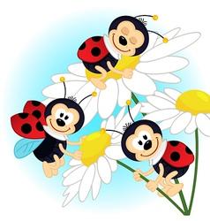 Ladybug on camomile vector